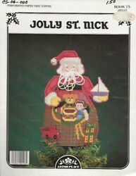Vintage Jolly St. Nick Perforated Paper Tree Topper Cross Stitch Leaflet $5.20