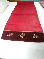 TABLE RUNNER 72 X 16quot; MARROON SATIN DECOR HOLIDAY $6.25