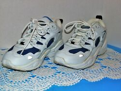 Womens Tennis Shoes Spalding Size Eight White Leather W Blue Trim $10.00