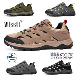Men#x27;s Trekking Trail Shoes Mountaineering Outdoor Hiking Boots Suede Sneakers $31.67