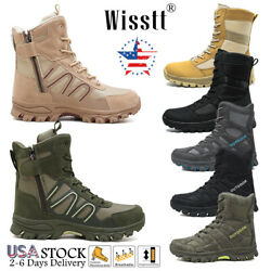 Men#x27;s Military Tactical Hiking Boots Side Zip Walking Army Jungle Desert Shoes $40.99