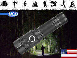 Most powerful 90000LM LED Flashlight On or off click Telescopic focusing BT $12.96