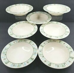 7 Taylor Smith Taylor Cathay Rim Soup Bowl Set Vintage 7 5 8quot; Atomic Mid Century $96.87