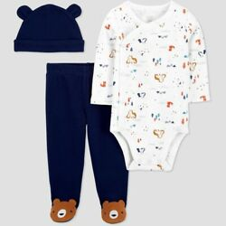 Baby Boys 3pc Bear Side Snap Top and Bottom Set Made by Carter#x27;s 3 Months $9.00