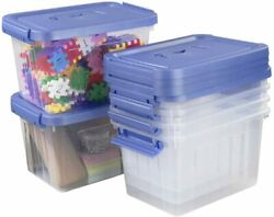 Clear Plastic Bin with Lid 6 Quart Latching Box with Handle 6 Packs $34.99