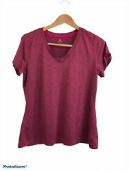 Champion C9 Women#x27;s Maroon Red Short Sleeve Activewear T Shirt Size XL Polyester $9.99