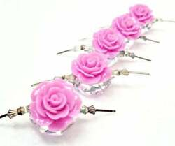5 Lilac Purple Chandelier Roses 18mm Shabby Chic Chandelier Crystals 80E $13.99