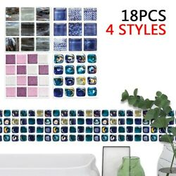18 X Mosaic Tile Wall Stickers For Kitchen Bathroom 10*10cm PVC Waterproof $11.12