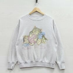 Vintage Kitten Playing with Yarn Sweatshirt Crewneck Size Small 90s Pet Cats $31.99