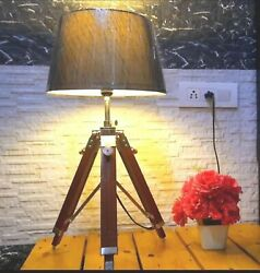 Nautical Table Lamp Light Shade Lamp Vintage Wooden Lighting Tripod Stand Decor $80.00