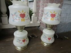 Pair Vintage Lamps Hurricane style Stencil Hearts amp; Ribbons Pretty $39.97
