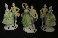 Vintage German Porcelain Lamp Base Figurine 3 Courting Dancing MADE IN US ZONE $29.99