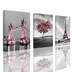Decor for Bedroom for Girls Pink Paris Theme Room Decor Wall Art Canvas Black... $43.66