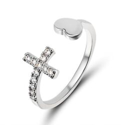 Silver Heart and Cross Adjustable Ring Holiday Avery Retired Hearts Ladies $19.99