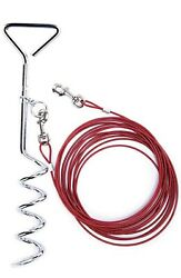 DOG STAKE TIE AND OUTSIDE CABLE WITH REFLECTIVE STAKE RED $15.00