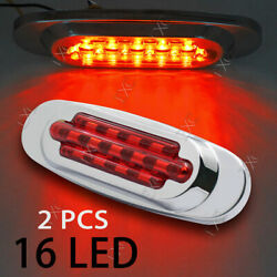 2x Sealed 16 LED Red 6.5quot; Side Marker Truck Trailer Clearance Light Waterproof $12.96