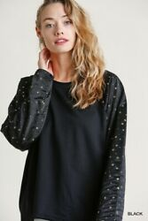 Umgee French Terry Knit Gold Star Long Sleeve Top $29.95