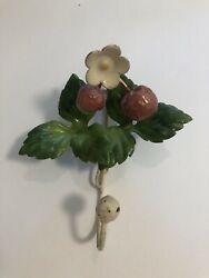 Vintage Tole Raspberry Berry Painted Metal Wall Hanging Hook Metal Tag Italy $17.99