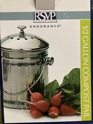 RSVP International 1 2 gallon stainless steel compost pail w charcoal filters $35.00
