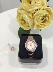 Womens FOSSIL Watch Stainless Steel Rose Gold Faux Crystals ES2976 New Battery $50.00