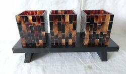PARTYLITE MOSAIC HURRICANE Candle Holder Mint in brown Box Retired $10.50