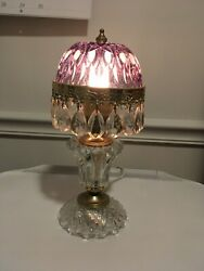 Vintage Michelotti Boudoir Crystal Table Lamp Purple Glass Made in Holland $99.99