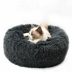 15.7in Calming Pet Beds Anti Anxiety Fluffy Cats Dogs Bed Cuddler Washable Gray $19.44