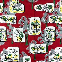 Vintage Material Fabric Retro Farmhouse Chickens Cows BOLD Red Green Yellow 35x $68.59