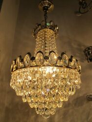 Antique French Swarovski Crystal Chandelier Ceiling Lamp 1960#x27;s 14quot; Diameter GBP 249.00
