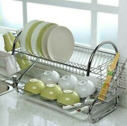 Kitchen Dish Cup Drying Rack Holder Sink Drainer 2 Tier Dryer Stainless Steel US $23.99