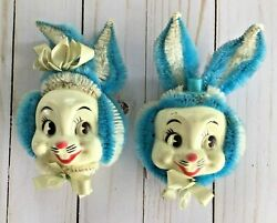 2 Vtg Mr. Mrs. Easter Bunny Rabbit Decorations Pipe Cleaners Plastic Mask Face $19.99