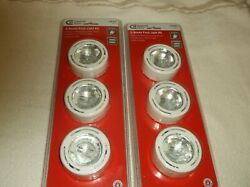 2 Commercial Electric 3 Xenon Puck Light Kit White Under Cabinet Plug In