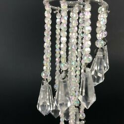 Christmas Ornament Chandelier Silver Glitter DANGLE Iridescent Beaded 7quot; ACRYLIC $23.04