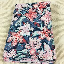 Large Scale Floral Lilies Pink Aqua amp; Red on Blue Cotton Fabric 4 yards x 54quot; $15.00