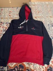 Nautica Blue pullover hoodie Size Large mens Blue Red $24.95