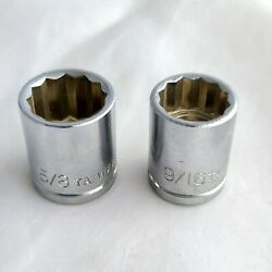 Set of 2 Vintage Sockets 3 8quot; Drive SAE 5 8quot; and 9 16quot; 12 point $3.99
