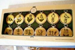 Harvey Lewis 12 DAYS OF CHRISTMAS Ornaments With Swarovski Crystals Set NEW $33.00