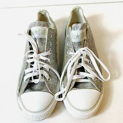 Converse All Star Women#x27;s Size 9 Gray Glitter Low Top Sneakers 514291F Lace Up $43.99