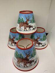 Christmas Chandelier Mini Clip On Lampshade Lamp Shade Reindeer $24.99