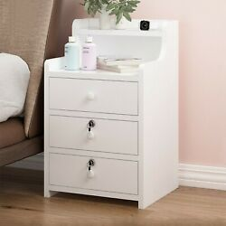 Simples End Table Bedroom Nightstand Coffee Table 3 Drawer With Lock Cabinet US $63.98