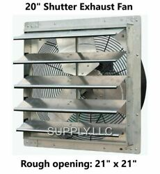 Commercial Wall Mount Shutter Exhaust Fan 20quot; with 2 Speed Thermostat Shed Barn
