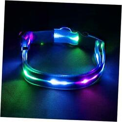 LED Dog Collar Light Up Dog Collar Waterproof USB Rechargeable Safety Blue $15.80