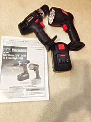 Drill Master 18v 3 8 In. Cordless Drill Driver And Flashlight Kit. Barely Used. $54.98