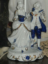 Baroque Style Porcelain Lamp Ornate Couple in Blue White and Gold $45.00