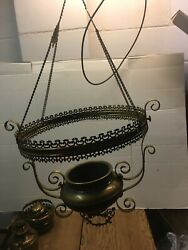 VINTAGE ANTIQUE BRADLEY amp; HUBBARD HANGING LIBRARY OIL LAMP AND CEILING ORIGINAL $200.00