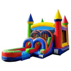 Rainbow Jump Castle Commercial Inflatable Bounce House Water Slide With Blower $624.99