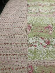 COTTAGE SHABBY CHIC COUNTRY Pink White Green Quilt 84 x 88 Full Queen $75.00