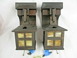 W.B. Brown Arts amp; Crafts Pair of Hanging Lantern Wood Chain Wall Sconces $1200.00