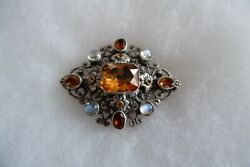 ANTIQUE ARTS amp; CRAFTS SILVER CITRINE MOOSTONE BROOCH BY ZOLTON WHITE C1900 22G GBP 169.00