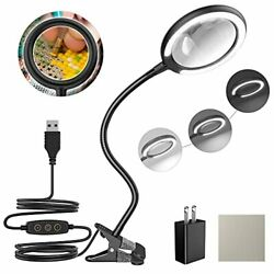 LED Magnifying Lamp with Clamp Raweao 3X Lighted Hands Free Magnifying Glass ... $31.81